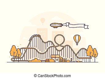 Roller coaster - thin line design style vector illustration