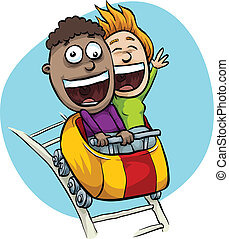 A young, cartoon couple are excited on a speeding roller coaster.