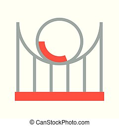Roller coaster vector icon, amusement park related flat style