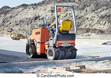 Roller compactor for asphalting working at road construction...