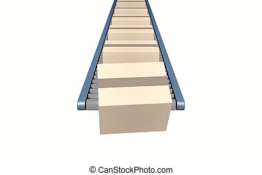 Roller Conveyor With Boxes