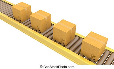 Roller conveyor with carton boxes