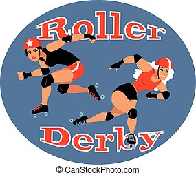 Roller derby - Two roller derby players, EPS 8 vector...
