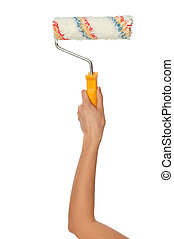 roller for redecorate flat - worker painting a wall with...