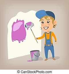 roller., nő, illustration., fal, fest, festék, vektor, karikatúra, szobafestő, boldog