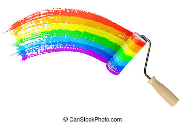 Roller paint wall color of the rainbow. Isolated on white...