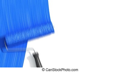 Roller Painting Blue color.