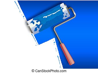 roller painting the walls in blue