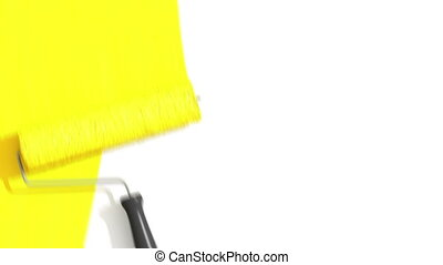 Roller Painting Yellow Color. Useful for Transitions. Loop-able. Alpha Channel. HD 1080.