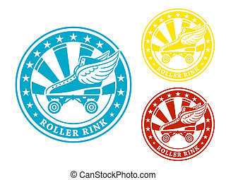 Roller rink label - Round roller rink label or sticker in...