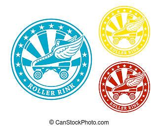 Roller rink label - Round roller rink label or sticker in...