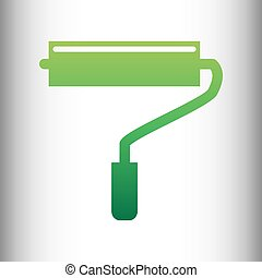 Roller sign. Green gradient icon