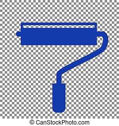 Roller sign illustration. Blue icon on transparent background.