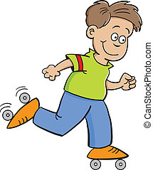 roller skate boy - Cartoon illustration of a boy roller...