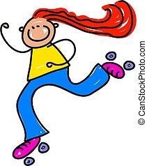 little girl whizzing along on roller skates - toddler art series