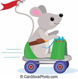 Roller Skate Mouse - Little Mouse having a ride on a...