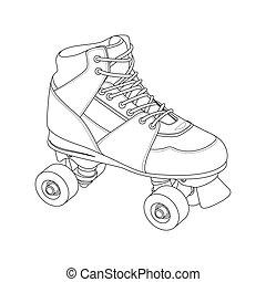 Roller Skate - Outline roller Skate on white background