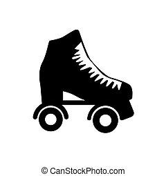 roller skate - Roller skate. Skating shoe pictograph on lime...