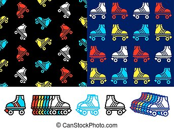 Roller skate seamless background pattern with colorful red,...