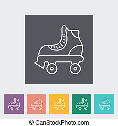 Roller skate thin line flat vector related icon set for web...