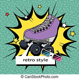roller skate with glasses of nineties retro style