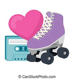 roller skate with heart and cassette of nineties