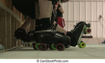 Roller Skater Getting Ready - A pair of skates on the move...