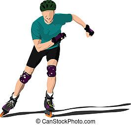 Roller skater illustration silhouette on a white background