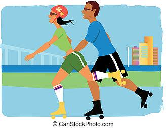 Roller skaters - Young couple on roller skates jogging, ...