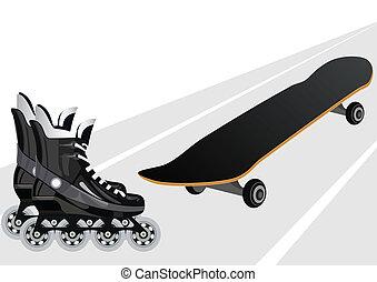 Roller skates and skateboards - Skateboard and roller skates...