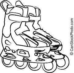 roller skates contour vector illustration