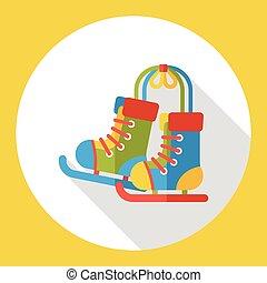 Roller skates flat icon
