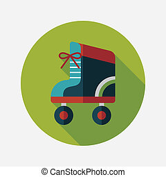 Roller skates flat icon with long shadow