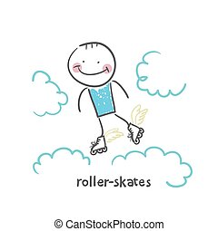 roller-skates. Fun cartoon style illustration. The situation...
