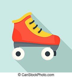 Roller skates icon, flat style