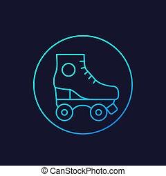 Roller skates icon, line vector