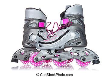 Roller skates - Pair of roller skates isolated on white ...