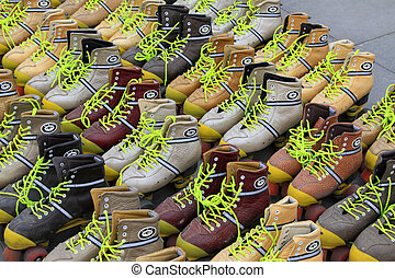 Roller skates piled up together in a park, China.