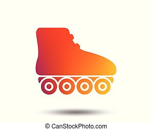 Roller skates sign icon. Rollerblades symbol. Blurred...