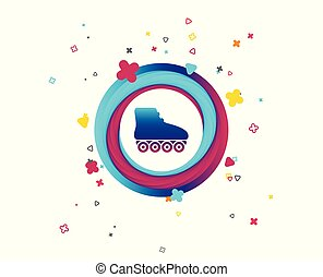 Roller skates sign icon. Rollerblades symbol. Colorful...