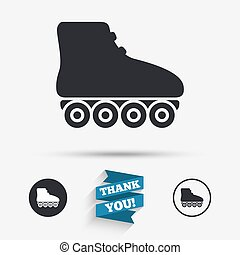 Roller skates sign icon. Rollerblades symbol. Flat icons....