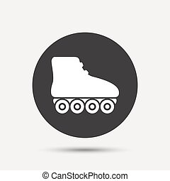 Roller skates sign icon. Rollerblades symbol. Gray circle...