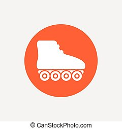 Roller skates sign icon. Rollerblades symbol. Orange circle...
