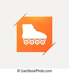 Roller skates sign icon. Rollerblades symbol. Orange square...