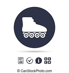 Roller skates sign icon. Rollerblades symbol. Report...