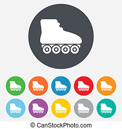 Roller skates sign icon. Rollerblades symbol. Round colourful 11 buttons. Vector
