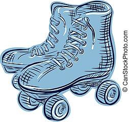 Roller Skates Vintage Etching - Etching engraving handmade ...
