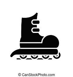 Roller skating black icon, concept illustration, vector flat symbol, glyph sign.