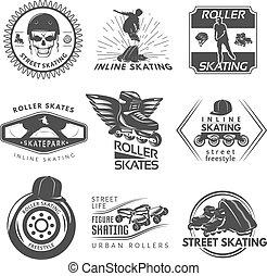 Roller Skating Black White Labels