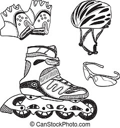 Roller skating equipment - doodle syle - Illustration of...